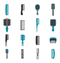 Comb Icons Flat Set vector