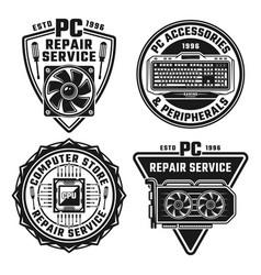 computer repair service set four emblems vector image
