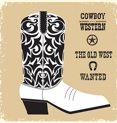 Cowboy boot isolated for design vector
