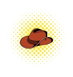 Cowboy hat icon in comics style vector image