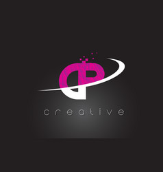 Cp c p creative letters design with white pink vector