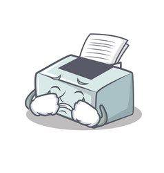 Crying printer mascot cartoon style vector