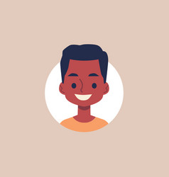 cute african american boy cartoon avatar face flat vector image