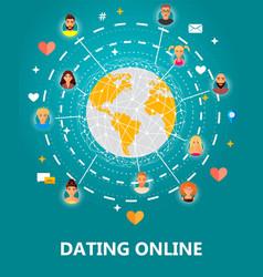 Dating online concept vector