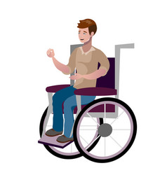 Disabled young man in wheelchair vector