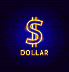 dollar neon label vector image