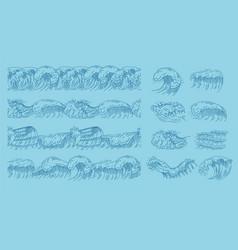 drawing ocean waves seamless pattern or border vector image