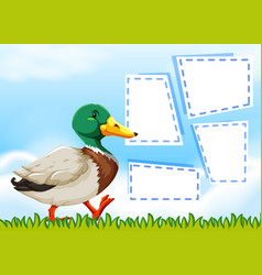 duck on nature note template vector image