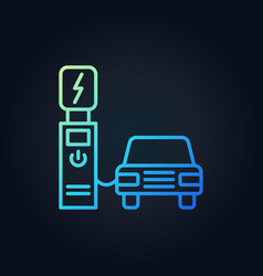electric recharging point with car outline vector image