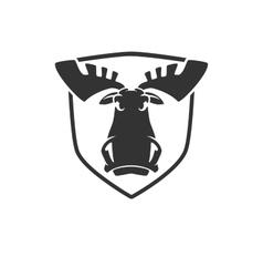 Evil moose head logo emblem vector