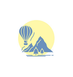 Explore travel mountains camping balloons glyph vector