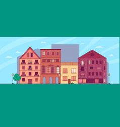 flat cartoon panorama - cityscape with vector image