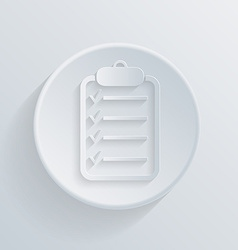 flat circle icon sheet of paper on the tablet vector image