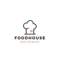 food house chef hat kitchen restaurant cafe logo vector image