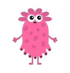 Funny girl monster with big eyes cute cartoon vector