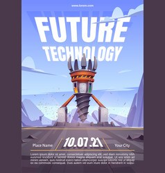 Future technology poster with drilling rig vector