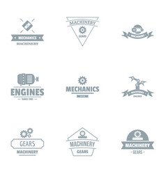 Gearing logo set simple style vector