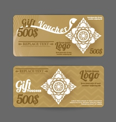 Gift Voucher Thai art pattern vintage design vector image