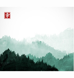 Green mountains with forest trees in fog contains vector