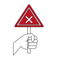 Hand with roadsign vector