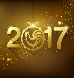 Happy New Year rooster and lettering Greeting Car vector image vector image
