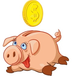 Happy Pig Piggy Bank vector