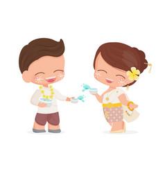 happy young couple enjoy songkran thai water new vector image