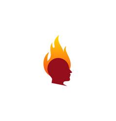 Head fire logo icon design vector