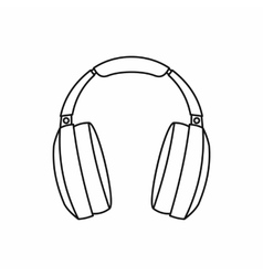 Headphones icon in outline style vector