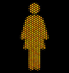Hexagon halftone woman person icon vector