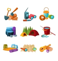 Hiking and Camping Icons Set vector image