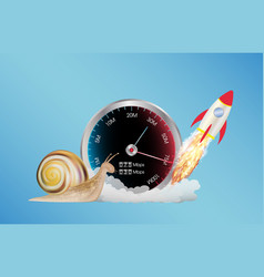 Internet speed meter with rocket and snail vector