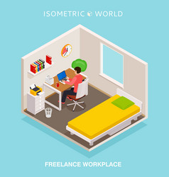 Isometric home office workplace concept freelance vector