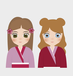 Japanese girls concept vector