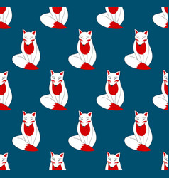 Kitsune fox on indigo blue background vector