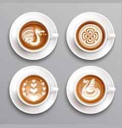 latte coffee set vector image