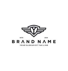 Letter y shield wing logo design concept vector