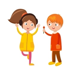 Little boy flower and girl headphones cute vector image