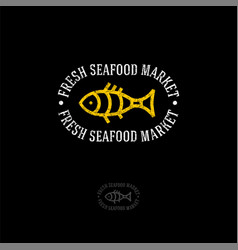 logo fish market vector image