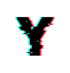 logo letter y glitch distortion vector image
