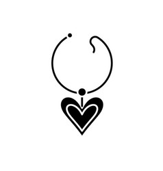 love necklace black icon sign on isolated vector image