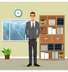 man business office work bookshelf plant pot clock vector image