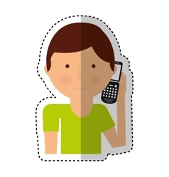 man calling with cellphone character vector image