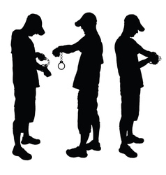 man with handcuff black vector image