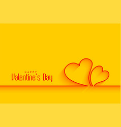 minimal line hearts shapes on yellow background vector image