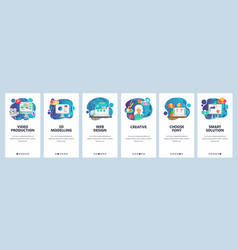 Mobile app onboarding screens video production vector