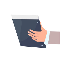 modern notepad with documents in businessmans hand vector image