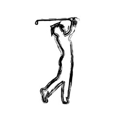 monochrome sketch of male golf player vector image