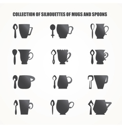 Mugs and spoons vector