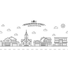 neighborhood with home store and church vector image